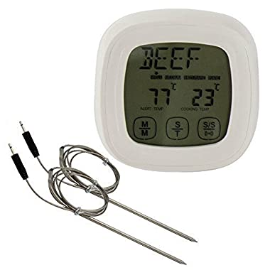 CoZroom Digital Cooking Touchscreen Thermometer Timer with 2 Stainless Steel Probes, for Cooking, Oven & BBQ Meat, White Colo
