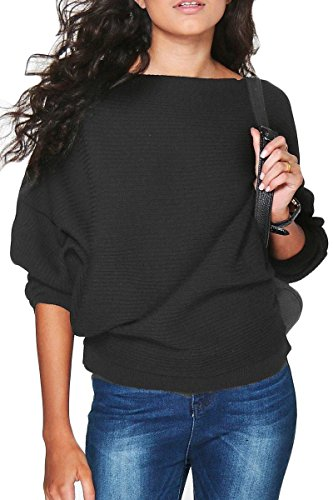 Haloon Womens Boat Neck Tee Tops Dolman Sleeve T Shirt Blouse Loose Knit Sweater