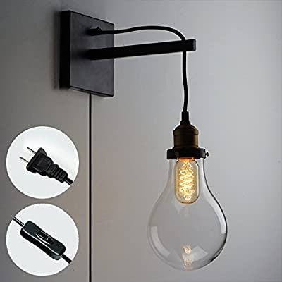 STGLIGHTING Vintage Lighting Retro Style Wall Sconces Balcony Fixture Lamp Iron Art Wall Lighting Glass Lampshade UL Plug-In Button Cord Bulbs Not Included