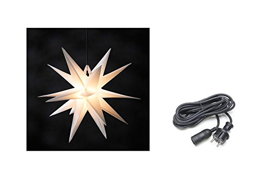 Weihnachtsstern Ø 50 cm weiß 3D Leuchtstern Stern beleuchtet wetterfest für außen innen