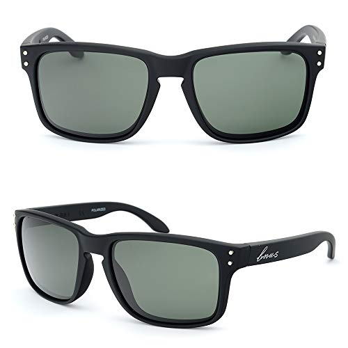 BNUS corning natural glass lenses Polarized sunglasses for men (Frame: Black Rubber, Polarized Green G15) (G15 Lens Sunglasses)