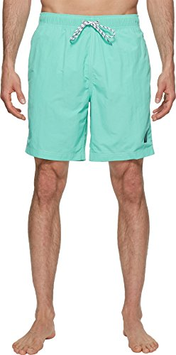 Nautica Men's Solid Quick Dry Classic Logo Swim Trunk, Mint Spring, (Nautica Trunk)