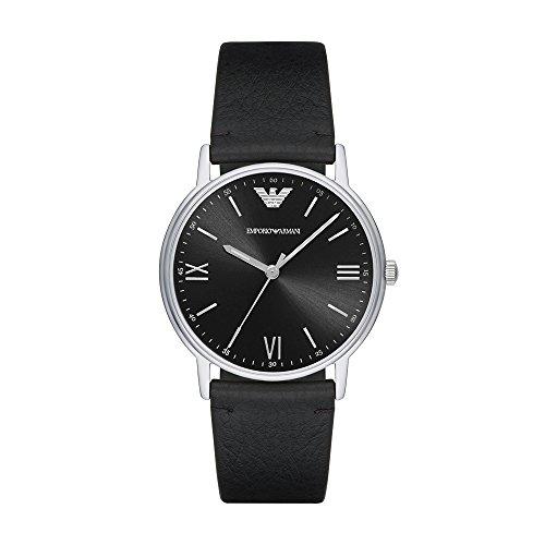 Emporio Armani Leather - Emporio Armani Men's Kappa Stainless Steel Analog-Quartz Watch with Leather Calfskin Strap, Black, 22 (Model: AR11013)