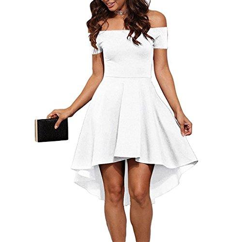 Larronkety Women Off Shoulder Short Sleeve High Low Hem Cocktail Skater Dress (2X-Large, - Dresses Or Black White
