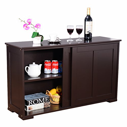 Dining Room Set Cupboard - Costzon Kitchen Storage Sideboard, Antique Stackable Cabinet for Home Cupboard Buffet Dining Room (Espresso Sideboard with Sliding Door)