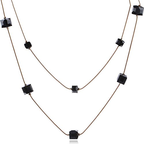Grenf Fashion Birthday Gift Multi-layer Crystal Rhinestone Pearl Sweater Chain Necklace Multi-layer Circular Beaded Chain Tassel Necklace Butterfly Pendant for Women (Black Gemstone) (Pendant Multi Butterfly Stone)
