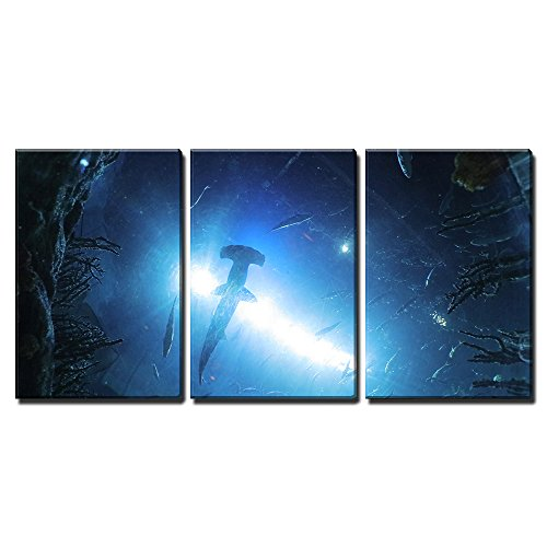 """wall26 - 3 Piece Canvas Wall Art - The Marine Life, Ocean Park Hong Kong - Modern Home Art Stretched and Framed Ready to Hang - 16""""x24""""x3 Panels"""