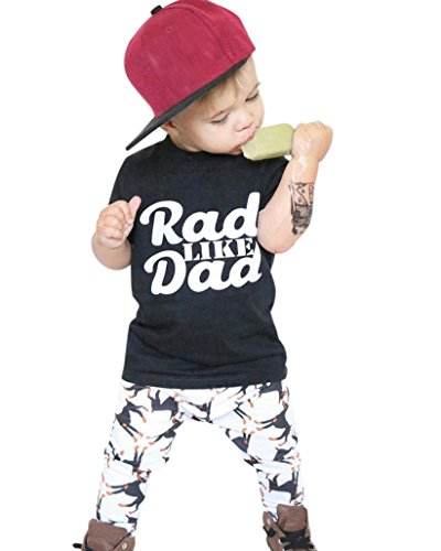 Toddler Baby Kids Boy Letter Print Tops Shirt Pants Outfit Set Clothes by XILALU (2T, Black)