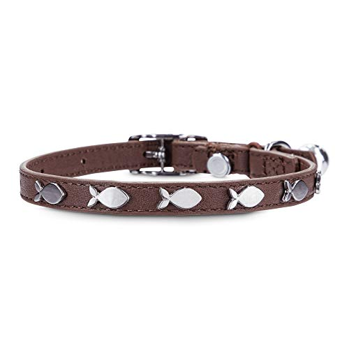 Bond & Co. Fish-Charm-Studded Brown Leather with Safety Stretch Cat Collar, Standard, Brown/Brown