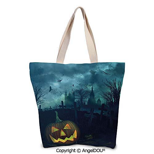 SCOXIXI Halloween Casual Canvas Tote Bag Reusable Shopping Bag Halloween Pumpki