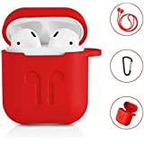 AirPods Protective Case, 3 in 1 Silicone Headphones Accessories Cover Skin Dustproof for Apple Airpods Charging Case with Keychain and Sports/Anti-Lost Strap(Red)