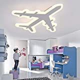 airplane ceiling fan LITFAD Airplane Shape Dimmable LED Ceiling Light Fixture 17.32 Inch Wide Pendant Lamp in White for Boys Bedroom,Kids Room,Children Bedroom