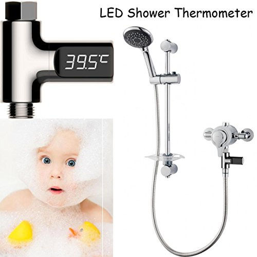 Nesee Shower Water LED Electricity Temperture Display Flow Thermometer Smart Meter (Black) (Types Treatment Header Window)