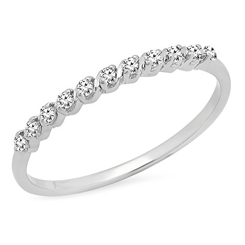 Prong Diamond Wedding Band (0.12 Carat (ctw) Sterling Silver Round White Diamond Ladies Wedding Stackable Band (Size 7))