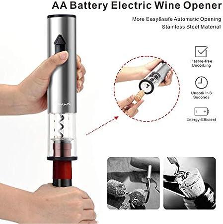 Juego de abrebotellas de vino eléctrico, sacacorchos automático de un clic+cortador de papel de aluminio+2 tapones de vacío para vino (acero inoxidable, funciona con pilas)