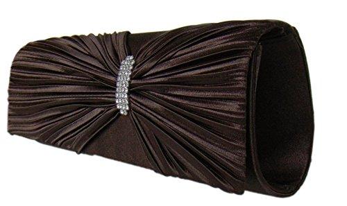 Stilvolle Abendtasche,Strass Handtasche,26x9 cm,Braun,Dunkelbraun