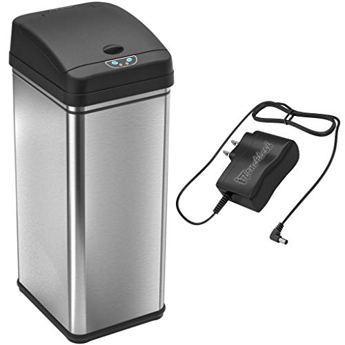 iTouchless 13 Gallon Sensor Trash Can with AC Adapter, Battery-Free Stainless Steel Automatic Bin with Odor Filter, Great for Kitchen and Office from iTouchless