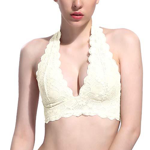 (Floral Lace Halter Bralette Unpadded Mesh Lined V-Neck Everyday Bra Top for Women(Cream White))