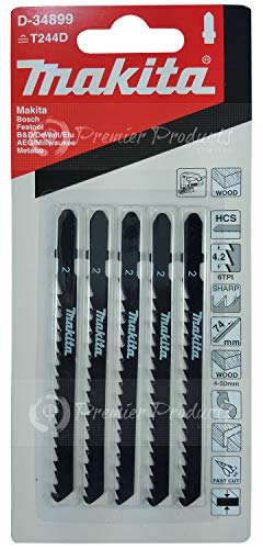 Makita 5 Piece - T Shank Wood Jigsaw Blades For Jig Saws - Curved Cuts For Soft Wood & PVC - 4
