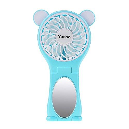 Yocoo USB Folding Fan Handheld Fan Rechargeable Fan Portable Electric Personal Fan 2 Speeds Desk Fan with Make-up Mirror, for Dorm Office Outdoor Travel Camping, Shopping, etc.