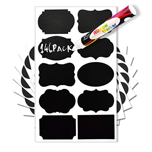 LeCoo Chalkboard Labels 146 Pack Reusable Stickers with 1 Erasable Chalk Markers for Mason Jars,Spice, Glass, Cups, Bottles, Containers, Canisters, Waterproof Blackboard Vinyl Set