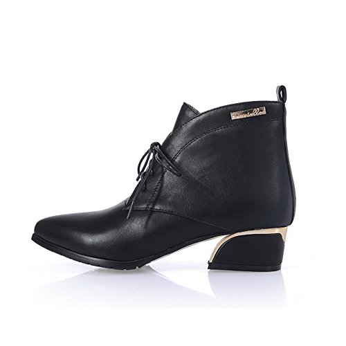 AllhqFashion Womens PU Blend Materials Pointed Closed Toe Low-top Low-heels Boots Black D2rd2m