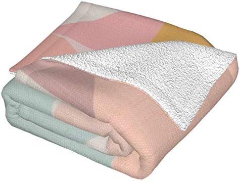 Couverture polaire géométrie du milieu du siècle clair - Décoration pastel ultra douce et moelleuse - Couverture polaire pour canapé, lit et salon - 127 x 101,6 cm