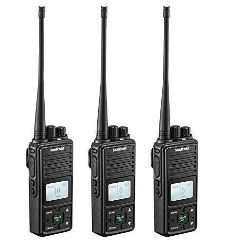 2 Ways Radio Long Range Samcom FPCN10A Walkie Talkie 20 Channels Wireless Intercom with Group Button, Business Radio UHF 400-470MHz,2 Watt, Earpiece, Belt Clip(Pack of 3)