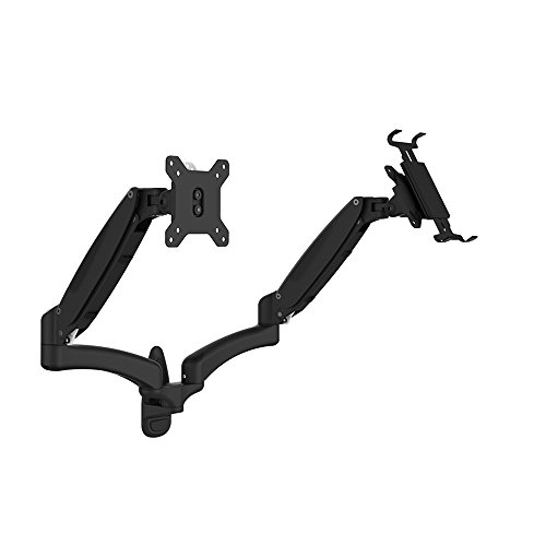 OLLO: Twin Wall Mounted Gas Spring Monitor Mount with iPad Holder, Snap-on Head, +90º/-85º Tilt, 180º Rotation, 0-18 Lbs. Each Arm, Black, Fits Most 15-27'' (WA-2XP) by OLLO
