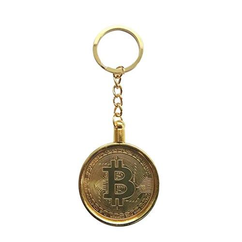 Bitcoin Coin porte-clés, AmaMary Vintage Porte-clés avec plaqué Bitcoin Coin pendentif pour clés Grande collection d'art de cadeau Collection pour la famille d'ami Or