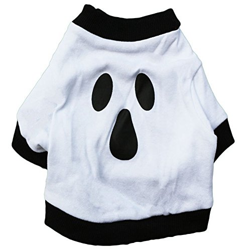 GINBL Pet Halloween Costumes for Small Dogs Shirt Orange Pumpkin White Ghost Costume