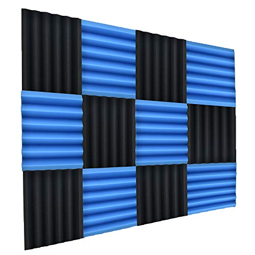 Double Thick Studio Acoustic Wedge Foam Panels 12 Pack of 12'x12'x2'(Blue/Charcoal) by NRG Acoustic to Remove Noise, Enhance Sound. Wall Foam Panels, Sound Proof Padding for Studios Vloggers, and More