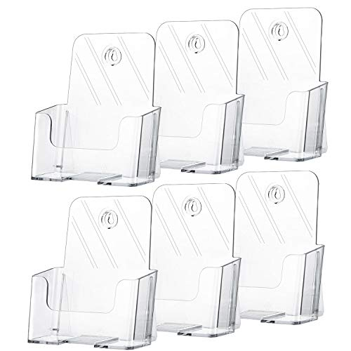 MaxGear 6 Pack Acrylic Brochure Holder 6 x 8 Inches Plastic Magazine Holder, Clear Literature Holder Trifold Pamphlet Display Stand for Wall Mount or Countertop, with 6 Pack Clear Business Card Holder