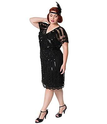 Unique Vintage 1920s Style Plus Size Black Bead Embellished Deco Angel Sleeve Flapper Dress