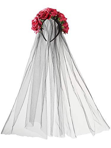 Jovitec Rose Headband Floral Crown Flower Veil Headpiece
