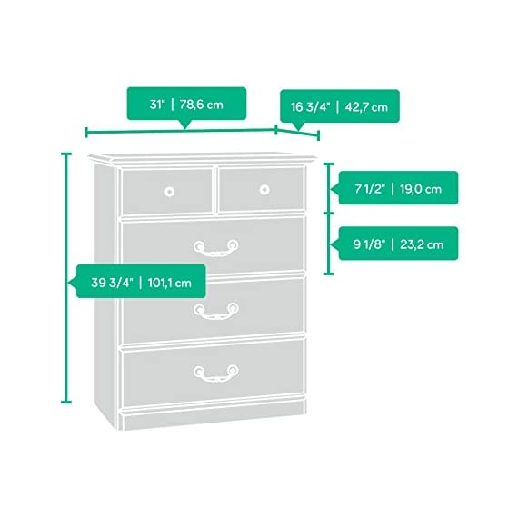 Sauder Orchard Hills 4-Drawer Chest, Carolina Oak finish -  Drawers feature metal runners and safety stops Top drawer features a divider Carolina Oak finish - dressers-bedroom-furniture, bedroom-furniture, bedroom - 41hfsm9GV6L. SS570  -