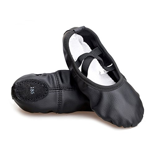 Girls-Split-Sole-Leather-Flat-Ballet-Shoes-Black-Foot-Length-748-inch-Little-Kid-13M-Size-210