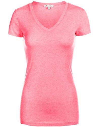 Basic Slim Fitted Short Sleeve Deep V-neck T-Shirt Tops
