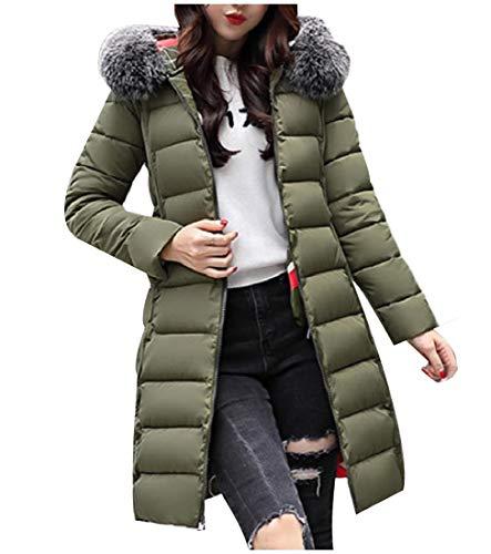 Howme-Women Thick Reversible Faux Fur Lapel Skinny Mid-Long Winter Coat Army Green