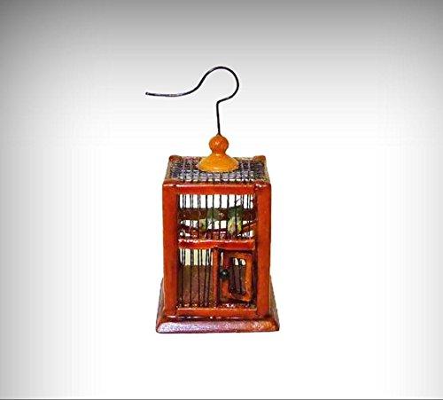 Dollhouse Mini Bespaq Ltd. Square Walnut Bird Cage 1:12 Doll House Miniatures - My Mini Garden Dollhouse Accessories for Outdoor or House Decor