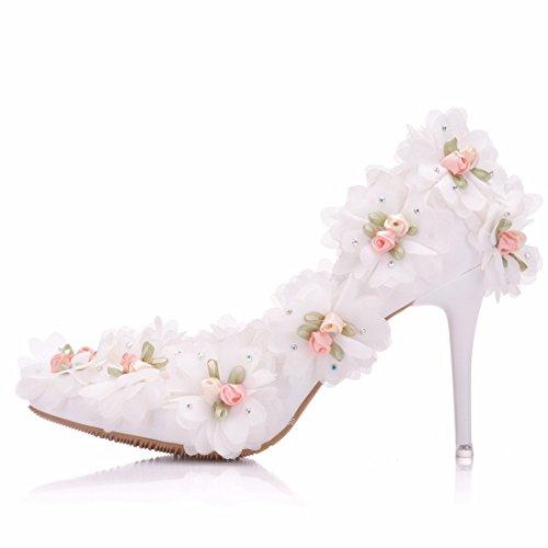 36 5 Escarpins MinitooEU Blanc Minitoo MZ8259 Heel 10cm Femme pour White SzT6v6qW