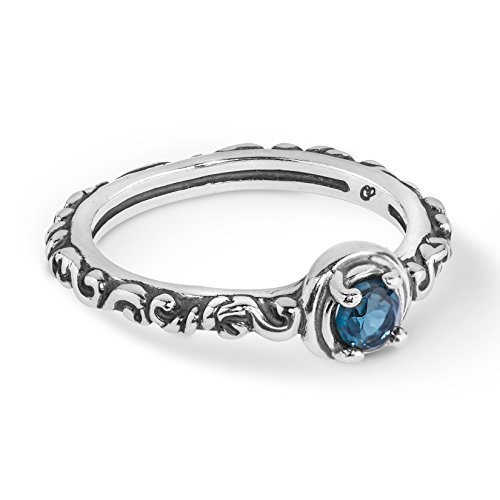 Carolyn Pollack Sterling Silver Blue Topaz Gemstone Single Round Stone Band Ring Size 6
