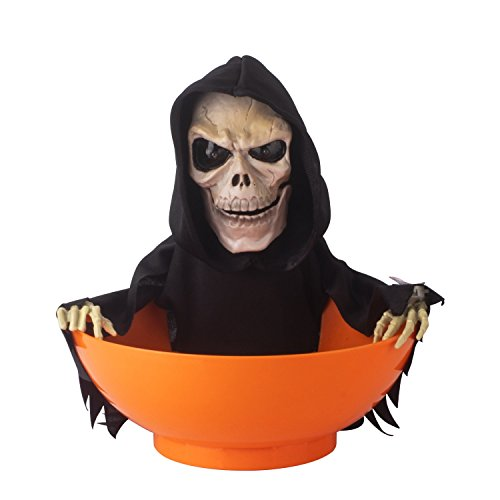KI Store Halloween Candy Bowl Grim Reaper Animated Candy Bowls Halloween Decorations for Treat or Trick Candy Holder Container (Grim -