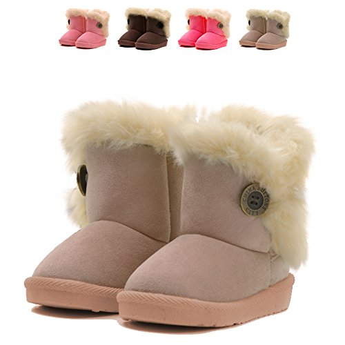CIOR Toddler Snow Boots for Baby Girl Fur Outdoor Slip-on Boots (Toddler/ Little Kids)