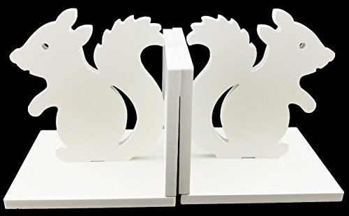 Creative White Wood DIY Assembling Bookends Book Ends For Library School Office Home Deck Study Gift Decoration (Squirrel)