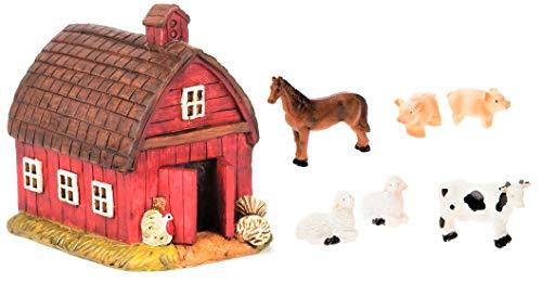 (Miniature Fairy Garden Realistic Resin Red Barn House - 3.375