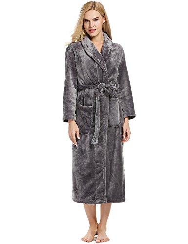 - Ekouaer Luxury Robe Womens Mens Plush Spa Bathrobe with Pockets (Dark Gray, Medium)