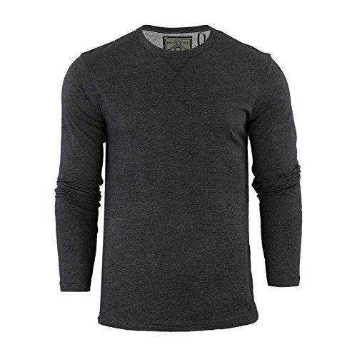 Camiseta para hombre de Brave Soul Praga algodón manga larga cuello redondo Casual Top Carbón Marl