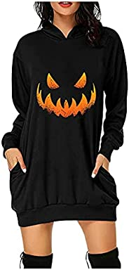 Women's Hooded Sweatshirt Dress Autumn Winter Halloween Pumpkin Bat Midi Dress Pullover Sweatshirt with Po
