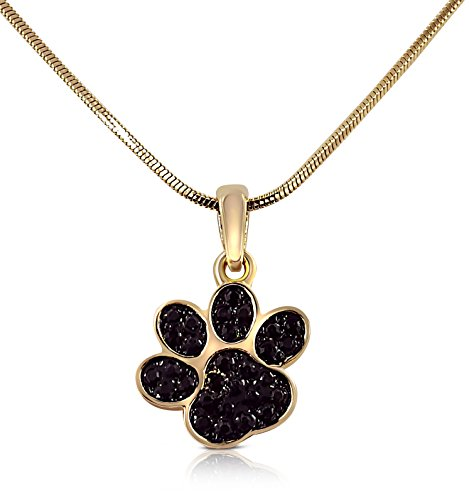 Price comparison product image Mini Petite Sparkling Black Crystal Dog Puppy Cat Kitten Animal Paw Gold Tone Necklace